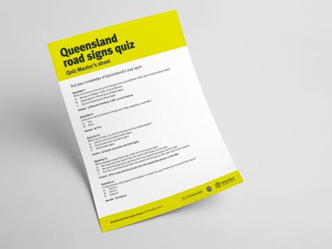 Queensland Road Signs Quiz - Quiz Master's Sheet